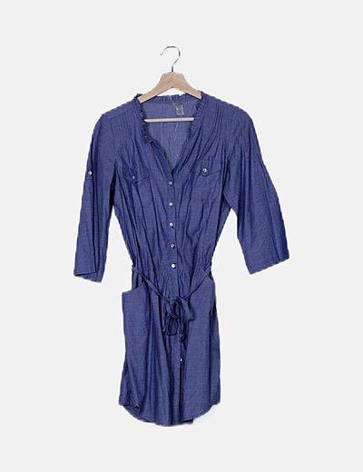 Vestido camisero denim abotonado