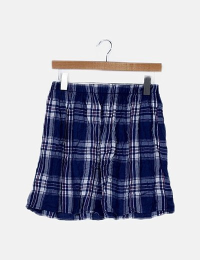 Falda mini cuadros azul