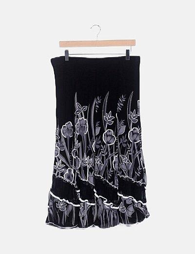 Falda negra floral