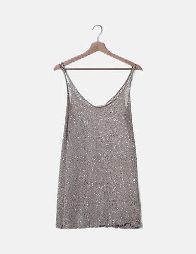 Mini vestido tricot beige glitter