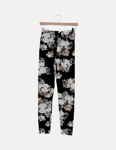 Legging negro texturizado floral