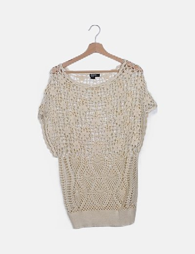 Camiseta crochet beige