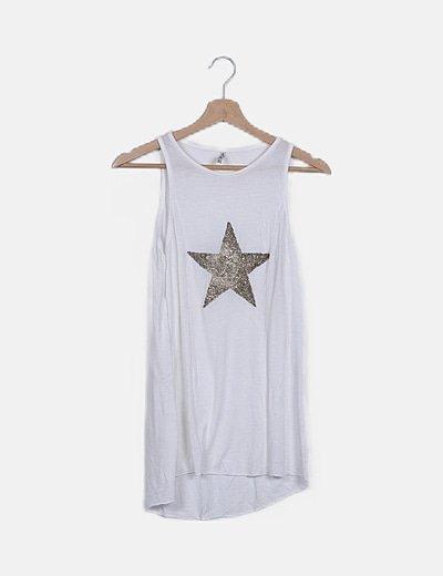 Camiseta blanca detalle abalorios