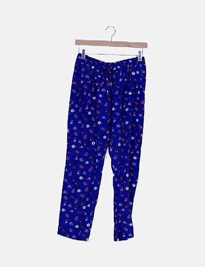 Pantalón baggy azul klein floral