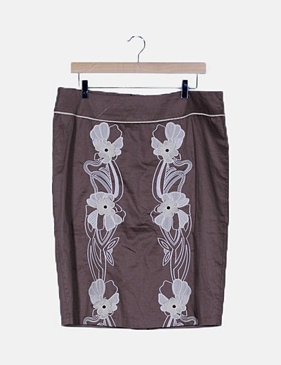 Falda marrón detalles florales