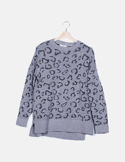 Jersey tricot gris animal print