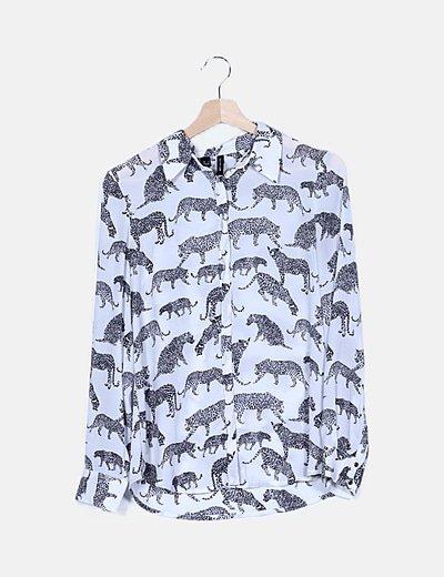 Camisa bicolor animal print