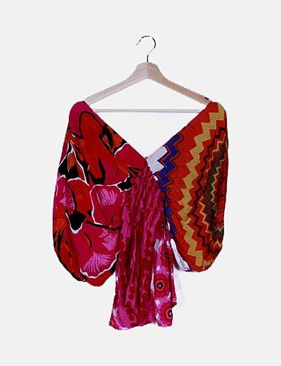 Vestido multicolor estampado combinado