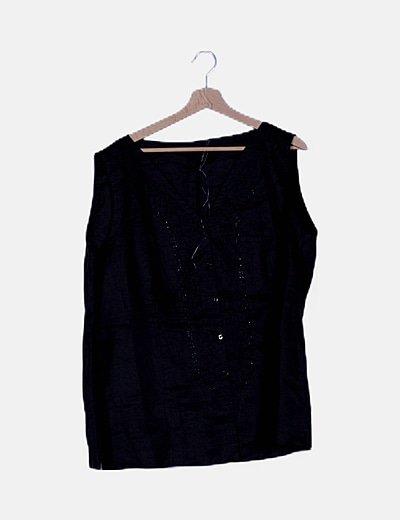 Blusa negra detalle abalorios