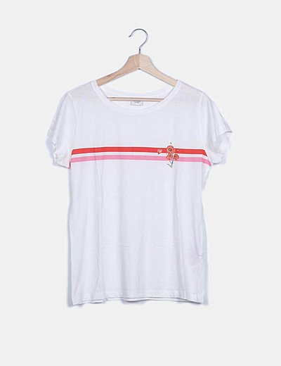 Camiseta blanca bandas bicolor