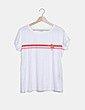 Camiseta blanca bandas bicolor Jacqueline de Yong