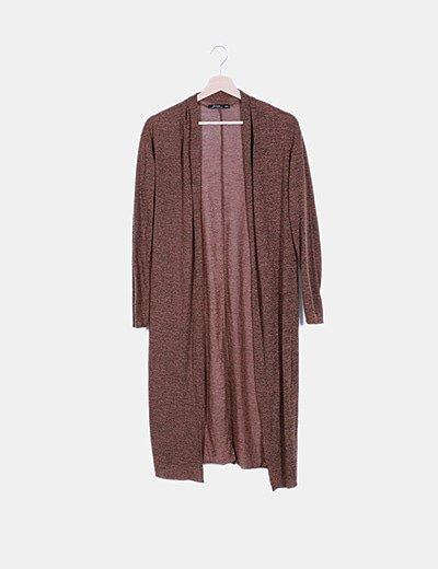 Chaqueta larga tricot marrón