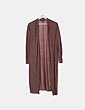 Chaqueta larga tricot marrón Bershka