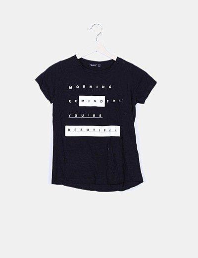 Camiseta negra print manga corta
