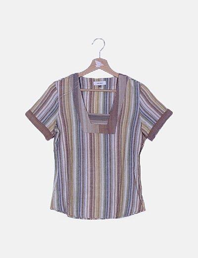 Camiseta tricolor de rayas
