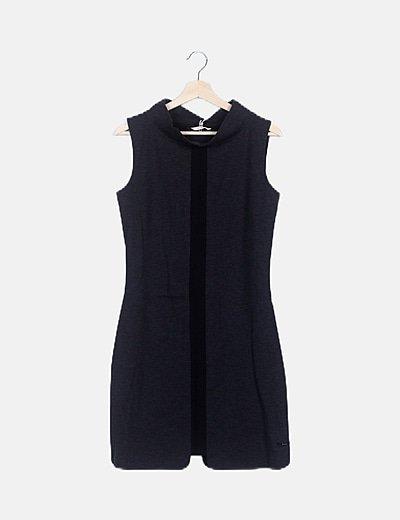 Vestido midi gris marengo franja negra