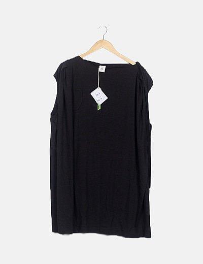 Camisola oversize negro bolsillo