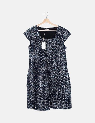 Vestido midi azul marino cremallera