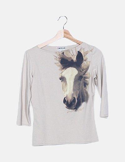 Camiseta beige print caballo