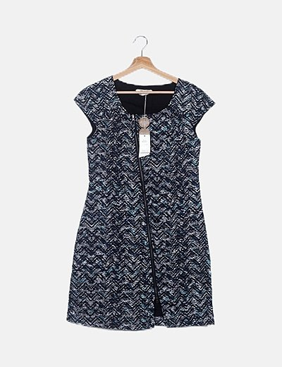Vestido azul marino estampado cremallera