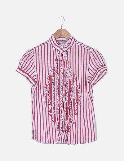 Camisa de rayas con chorrera