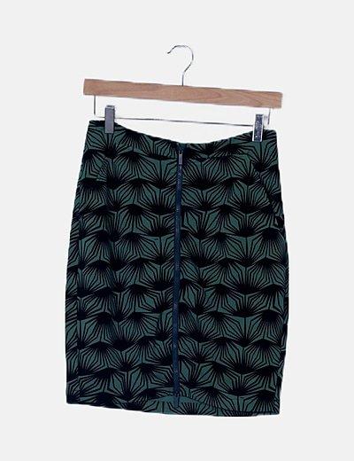 Falda verde rayas negras