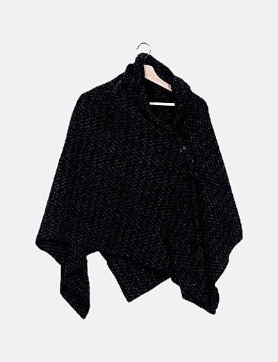 Kimono negro jaspeado de punto