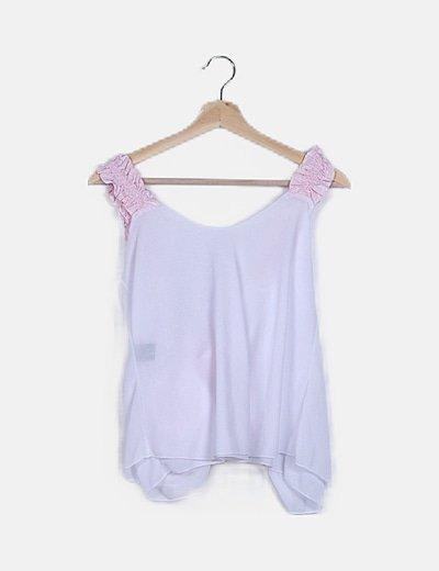Blusa blanca lace up