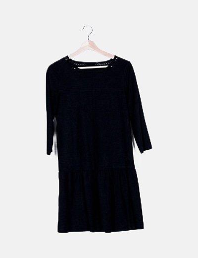 Vestido negro de ante