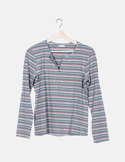 Camiseta premamá tricolor de rayas