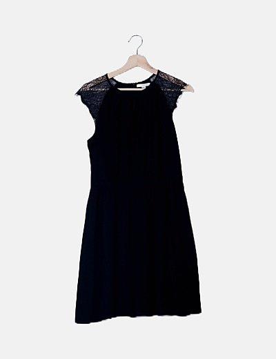 Vestido maxi negro combinado