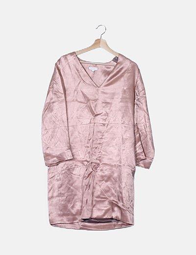 Vestido rosa satinado
