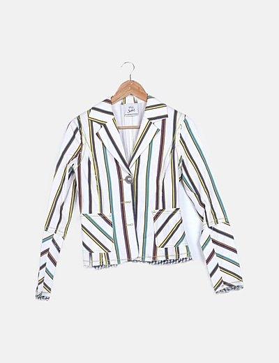 Blazer blanca print rayas multicolor