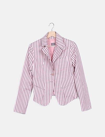 Blazer rosa print rayas