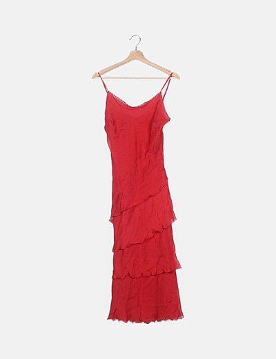 Vestido tul rojo volantes