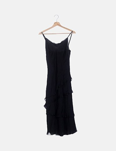 Vestido tul negro volantes