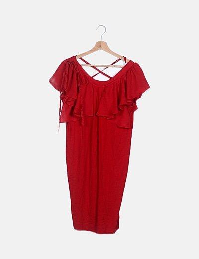 Vestido rojo detalle volantes
