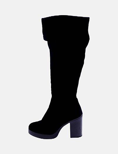 Botas altas velvet negras