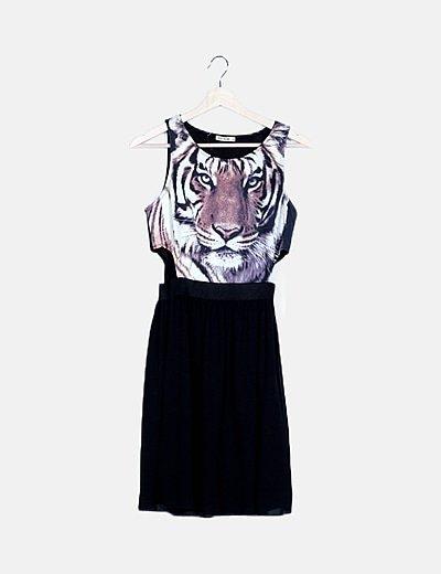 Vestido negro animal print