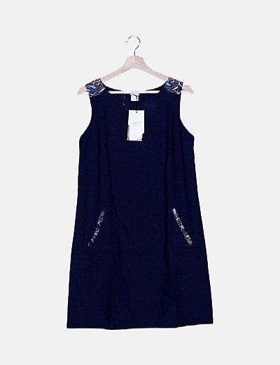 Vestido mini azul espalda multicolor