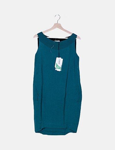 Vestdo mini verde escote plisado