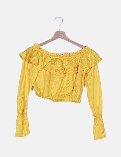 Blusa amarilla escote barco