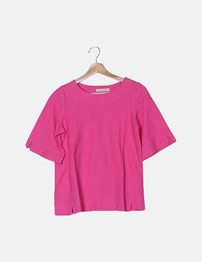 Camiseta texturizada rosa