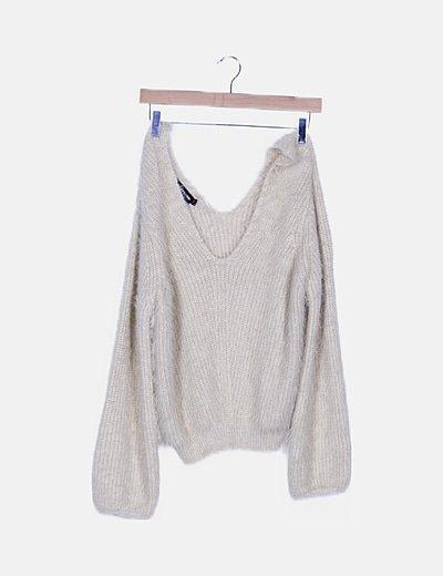 Jersey lana beige manga larga