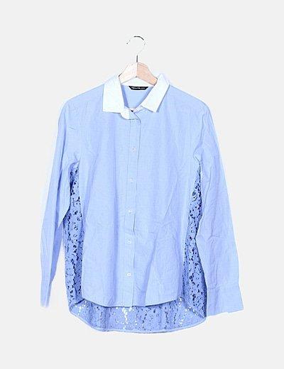 Camisa azul encaje
