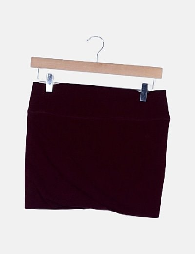 Mini falda elástica burdeos