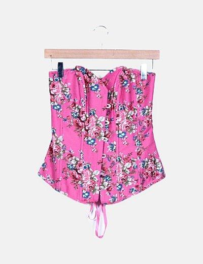 Corsé rosa print floral