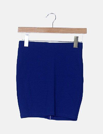 Mini falda texturizada azul