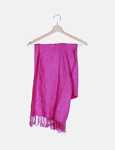 Bufanda rosa flecos
