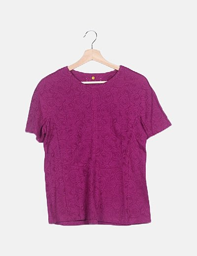 Camiseta tricot fucsia floral